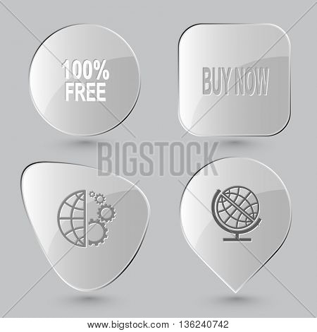 4 images: 100% free, buy now, globe and gears, school globe. Business set. Glass buttons on gray background. Vector icons.