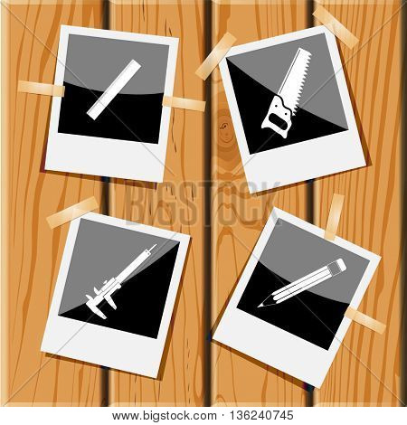 4 images: ruler, saw, caliper, pencil. Angularly set.Photo frames on wooden desk. Vector icons.