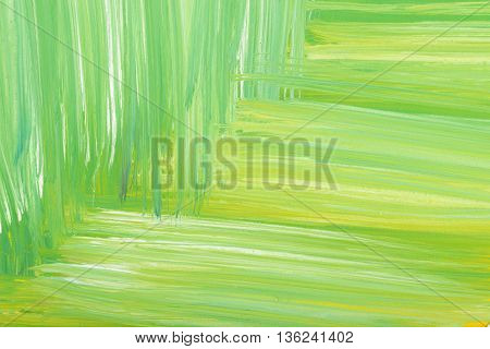 Green abstract hand-painted gouache brush stroke texture.