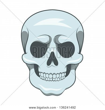 Skull icon in cartoon style isolated on white background. Death symbol