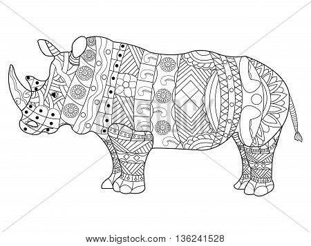 Rhinoceros coloring book for adults vector illustration. Anti-stress coloring for adult. Zentangle style animal. Black and white lines. Lace pattern