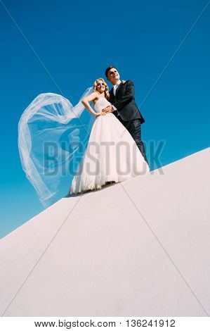 The Bride And Groom Are Photographed Against The Sky