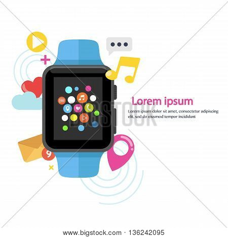 Smart watch device display with app icons. Smart watch technology . Flat design vector illustration