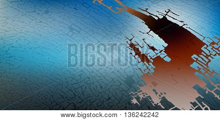 Abstract vector drawing card. attrition cracked blue with a dark background cut