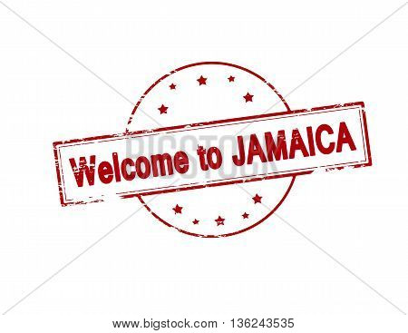 Rubber stamp with text welcome to Jamaica inside vector illustration