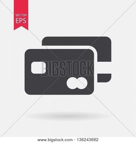 Credit Card Icon Vector. Credit Card sign isolated on white background. Flat design style