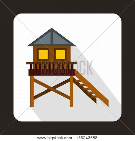 Wooden stilt house icon in flat style on a white background