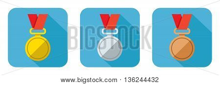 Set of flat icons vector gold silver and bronze medal