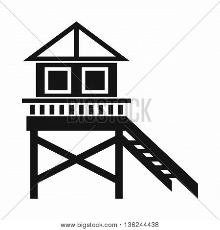 Wooden stilt house icon in simple style isolated on white background