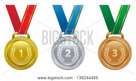 Set vector sports awards gold silver and bronze medal.