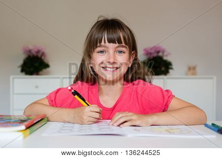 Girl Ready To Do Her Homework
