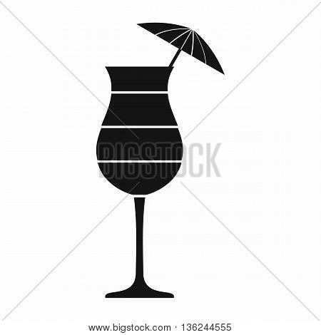 Layered cocktail with umbrella icon in simple style isolated on white background