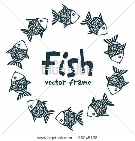 Dark blue ink color hand drawn grunge doodle cartoon style fishes vector round frame