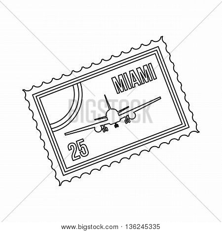 Stamp with plane and text Miami inside icon in outline style isolated on white background