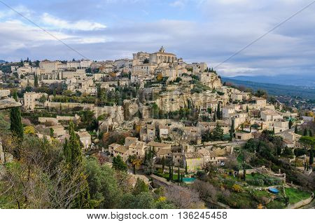 Panoramic View Of Gordes, Provence, France
