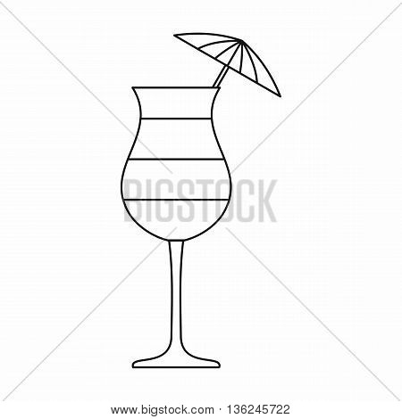 Layered cocktail with umbrella icon in outline style isolated on white background