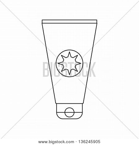 Tube with sunbathing cream icon in outline style isolated on white background