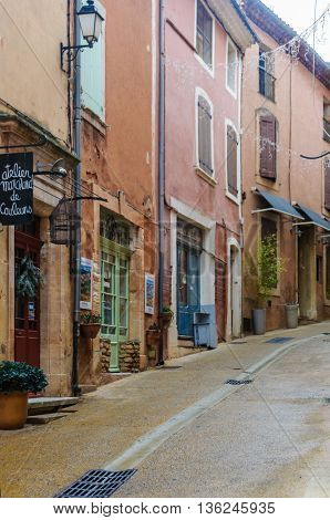 ROUSSILLON, FRANCE - DECEMBER 6, 2015: Loneliness on the streets of the hilltop village of Rousillon Provence France
