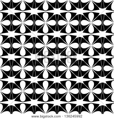 Flower and star seamless pattern. Fashion graphic background design. Modern stylish abstract texture. Monochrome template for prints textiles wrapping wallpaper website etc. VECTOR illustration