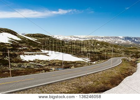 Hardangervidda Road In Norway