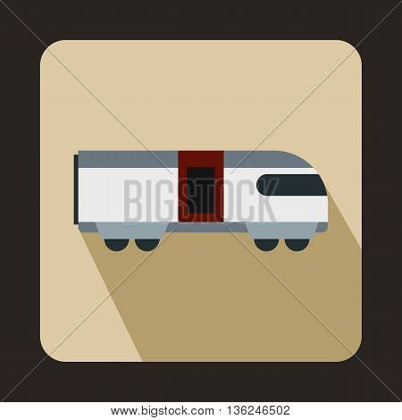 Swiss mountain train icon in flat style on a beige background