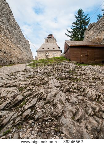 Courtyard of medieval Kasperk Castle in South Bohemia, Czech Republic