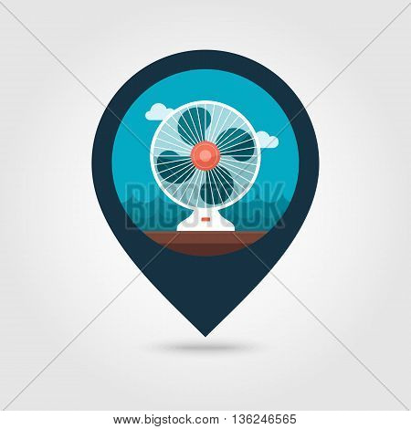 Ventilator vector pin map icon. Map pointer. Summer Map markers. Summertime. Vacation eps 10