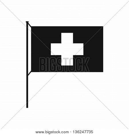 Switzerland flag icon in simple style isolated on white background