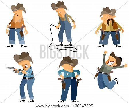 Vector illustration of a six cowboys set