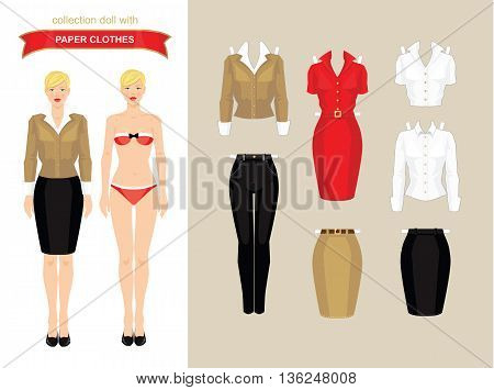 Paper doll with clothes. Body template. Set of paper clothes. Clothes for office and for holiday.