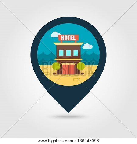 Hotel vector pin map icon. Travel Map pointer. Summer Map markers. Summertime. Vacation eps 10