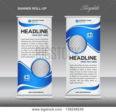 Blue and White Roll up banner stand template vintage banner corporate vector template