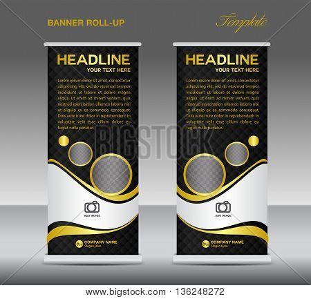 Orange and white Roll up banner stand template vintage banner corporate vector template