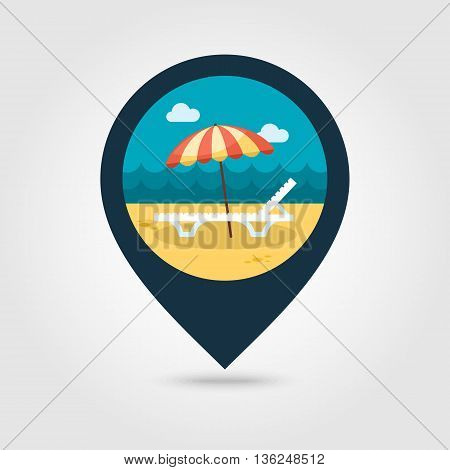 Beach chaise lounge with umbrella vector pin map icon. Map pointer. Summer Map markers. Summertime. Vacation eps 10