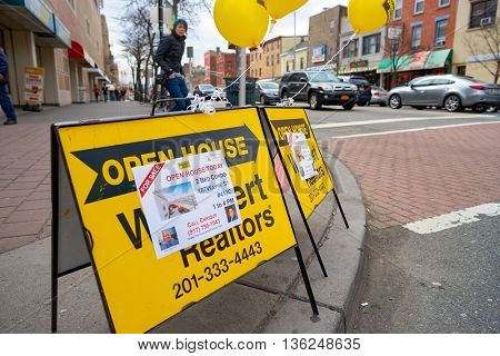 JERSEY CITY, NJ - CIRCA MARCH, 2016: realtors AD at Jersey City. Jersey City is the second most populous city in the U.S. state of New Jersey after Newark.