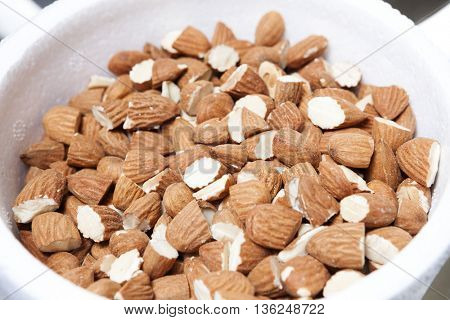 Almonds In Bowl At Ice Cream Shop