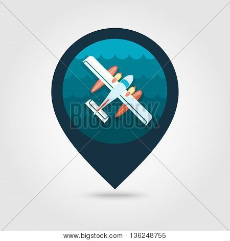 Hydroplane vector pin map icon. Travel Map pointer. Summer Map markers. Summertime. Vacation eps 10