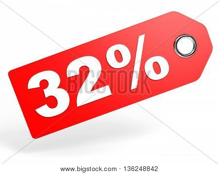 32 Percent Red Discount Tag On White Background.