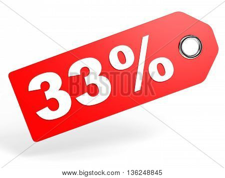 33 Percent Red Discount Tag On White Background.