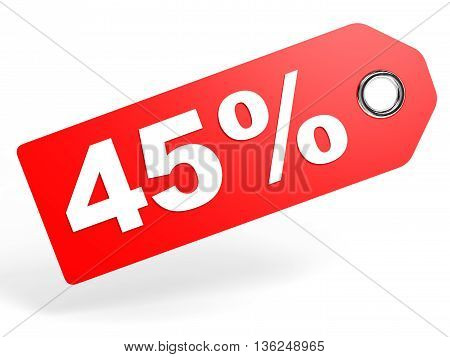 45 Percent Red Discount Tag On White Background.