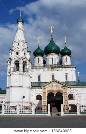 Church of Elijah the Prophet in Yaroslavl (Russia) famous by its original 17th century frescoes. Popular touristic landmark, UNESCO World Heritage Site.