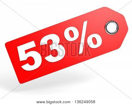 53 Percent Red Discount Tag On White Background.