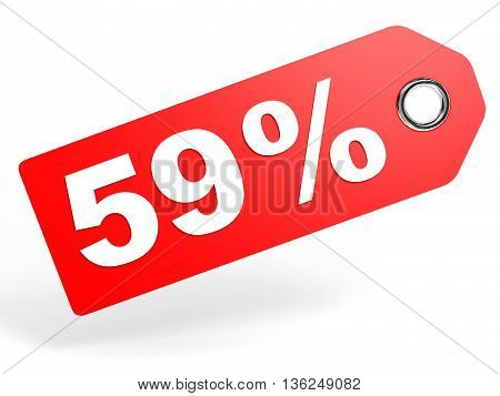 59 Percent Red Discount Tag On White Background.