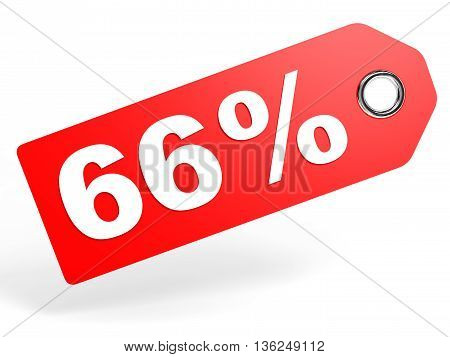 66 Percent Red Discount Tag On White Background.