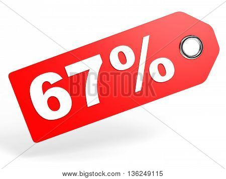 67 Percent Red Discount Tag On White Background.