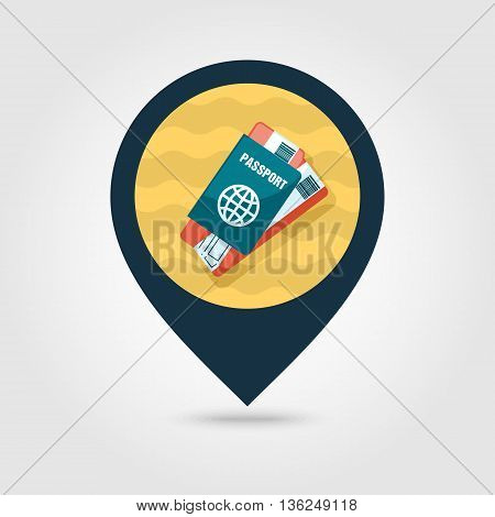 Passport with tickets vector pin map icon. Travel Map pointer. Summer Map markers. Summertime. Vacation eps 10