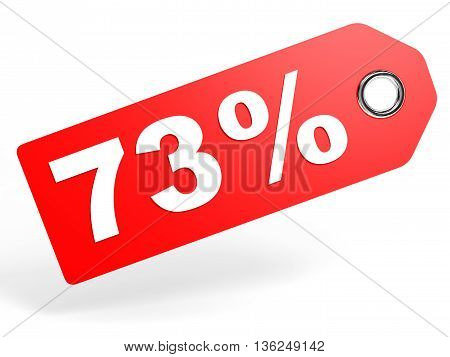 73 Percent Red Discount Tag On White Background.