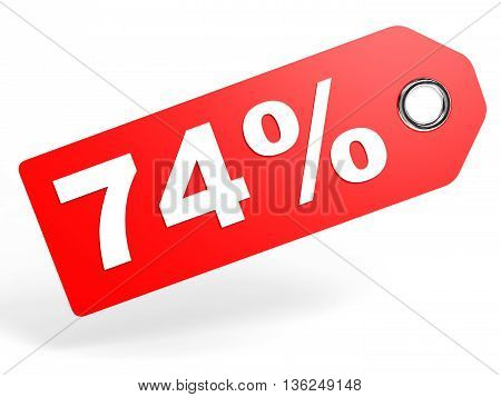 74 Percent Red Discount Tag On White Background.