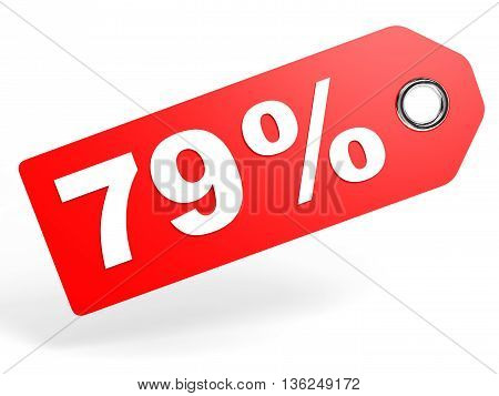 79 Percent Red Discount Tag On White Background.