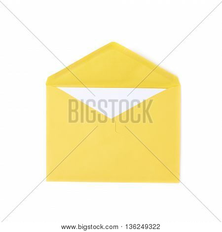 Yellow letter envelope isolated over the white background